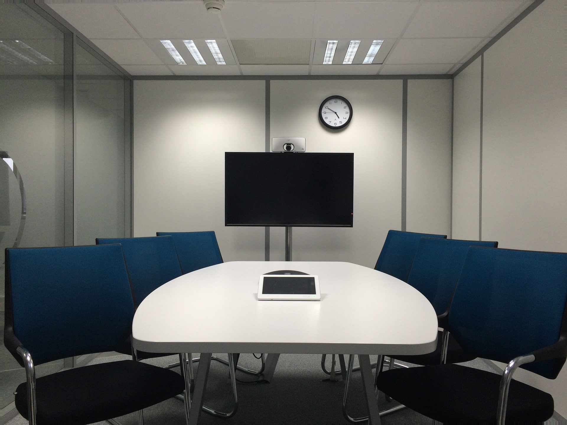 meeting room with TV representing corporate video production