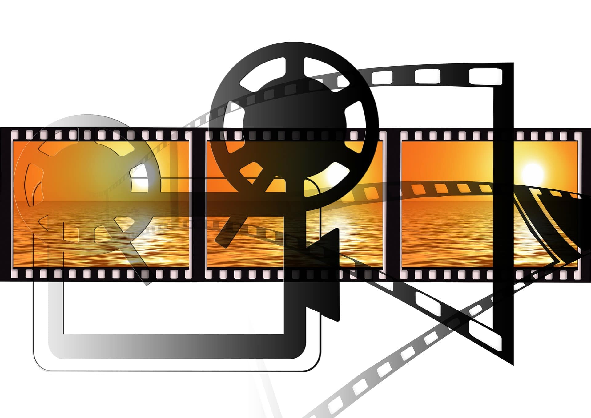 Movie iconography. Projector, film, reel, sunset. Represents New York and New Jersey Commercial Production